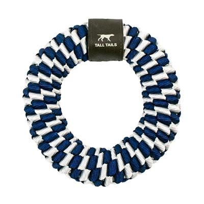 """Tall Tails Navy Braided Ring Toy, 6"""""""