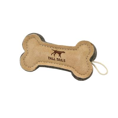 """Tall Tails Natural Leather Bone Toy, 6"""""""