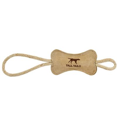 """Tall Tails Natural Leather Bone Tug Toy, 12"""""""