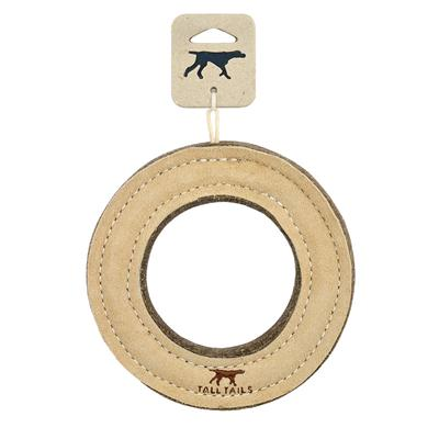 """Tall Tails Natural Leather Ring Toy, 7"""""""