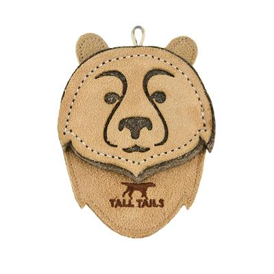 """Tall Tails Natural Leather Bear Toy, 4"""""""