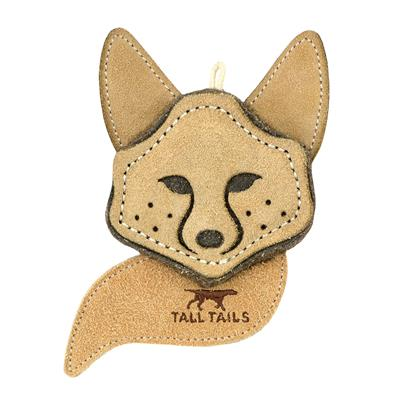 """Tall Tails Natural Leather Fox Toy, 4"""""""
