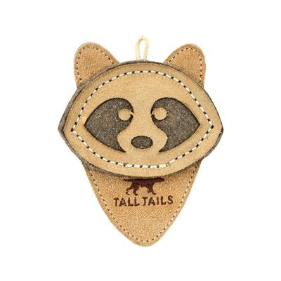 """Tall Tails Natural Leather Raccoon Toy, 4"""""""