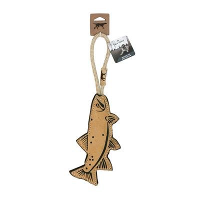 Tall Tails Natural Leather Trout Tug Toy, 16""