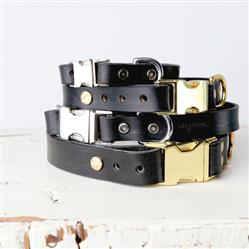 Handmade Classic Leather Dog Collar - Quick Release Style - Black