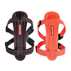 Chest Plate Harness Solid Colors w/Seatbelt Restraint by EzyDog Chocolate/Orange