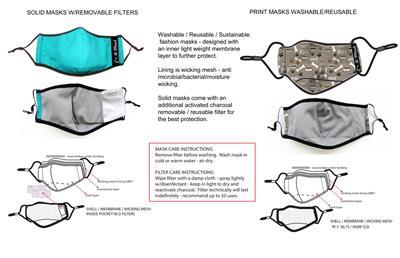 Fashion Print Face Masks - Adjustable, Washable, Reusable