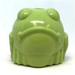 MuttsKickButt by SodaPup Synthetic Rubber Bull Frog Shaped Chew Toy and Treat Dispenser for Aggressive Chewers, Guaranteed Tough, Made in USA, Medium Green