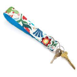 Frida Laminated Cotton Wristlet Key Fob