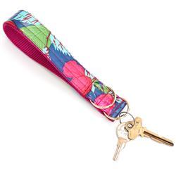 Rosey Laminated Cotton Wristlet Key Fob