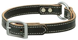 Black Leather Ring-in-Center Dog Collar