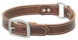 Brown Leather Ring-in-Center Dog Collar