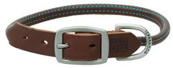 Brown Rolled Leather Dog Collar/Leash with Hurricane Blue Stitching