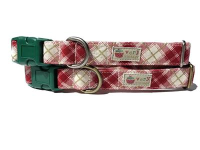 Cranberry Plaid – Organic Cotton Collars & Leashes