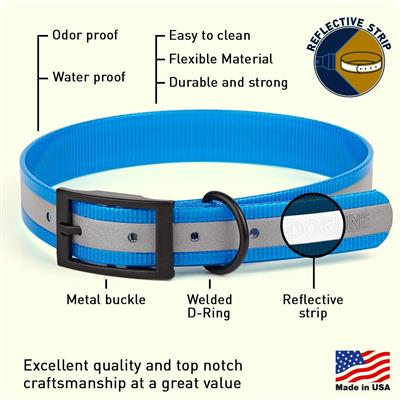 Dogline Biothane Translucent Reflective Waterproof Dog Collar Strong Coated Nylon Webbing with Black Hardware Odor- Proof for Easy Care Easy to Clean High Performance Fits Small Medium or Large Dogs