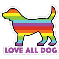 "Love All Dog - 3"" Sticker"