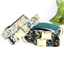 GOLDIE Natural Botanical Canvas Dog Collar w Rifle Paper Co. Fabric