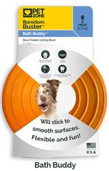 NEW PET ZONE BOREDOM BUSTERZ ORANGE BATH BUDDY WITH GIANT SUCTION CUP