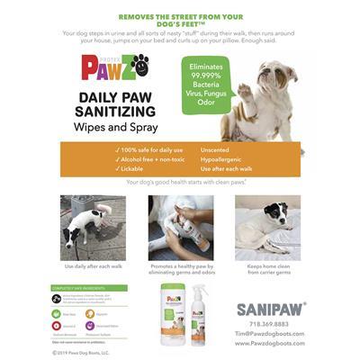 SaniPaw Display for Sanitizing Paw Spray & Wipes by PawZ