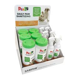 SaniPaw Display for Sanitizing Paw Spray & Wipes by PawZ