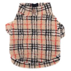 Tan plaid Sherpa 1/4 Zip Pullover