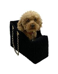Kate Carrier in Quilted Black Velvet with Chain Straps