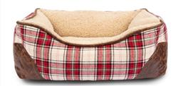 Red & Cream Plaid Bed