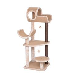 Catry, Large Cat Tree Tower with Paper Rope Covered Scratching Post Hammock Tunnel for Multiple Cats Activity Center