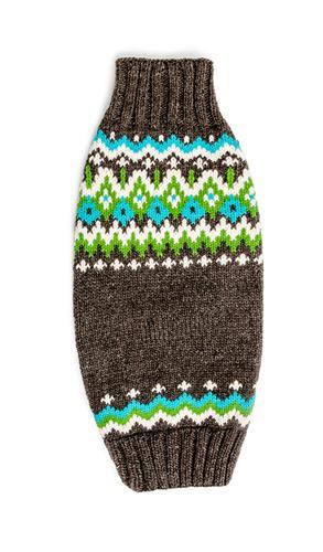 Charcoal Fairisle Wool Dog Sweater