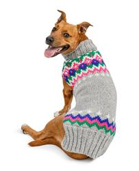 Light Grey Fairisle Wool Dog Sweater