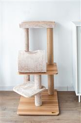 Catry Large Wooden and Carpet Covered Cat Tree Tower with Paper Rope Covered Scratching Post cradle and Tunnel for Kitten