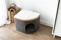 Catry Fan-shaped Cat Condo Cat Bed with Laminated Wood and Jute Fiber Cat House