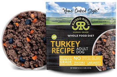 Raised Right Turkey Adult Dog Recipe, 2 lb Bag