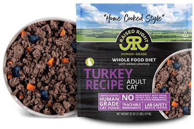 Raised Right Turkey Adult Cat Recipe, 2 lb Bag