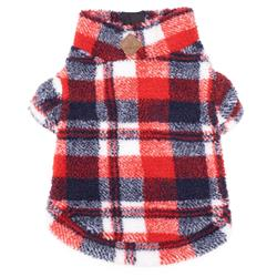 Red/Navy Plaid Sherpa 1/4 Zip Pullover