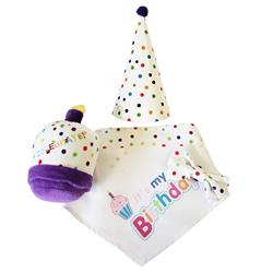 Birthday 4 pc Set – Plush Toy, Bandana, Hat & Bow Tie