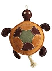 Native Dog Leather Turtle Toy - 11""