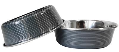 Gray Striped Laser Cut Stainless Steel Dog Bowl with Rubber Ring Base - 32oz.