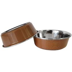Brown Striped Laser Cut Stainless Steel Dog Bowl with Rubber Ring Base - 32oz.