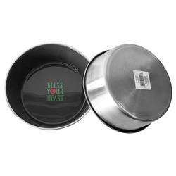 Bless Your Heart Design In Grey Stainless Steel Bowl