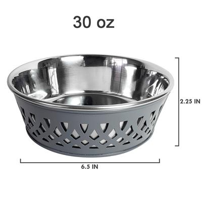 Grey Farmhouse Metal Punchout Stainless Steel Dog Bowl