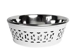 White Farmhouse Metal Punchout Stainless Steel Dog Bowl