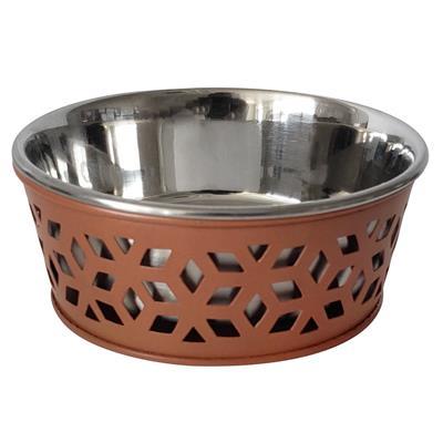 Apricot Brandy Farmhouse Metal Punchout Stainless Steel Dog Bowl  - 16oz.