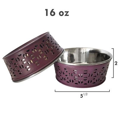 Plum Wine Farmhouse Metal Punchout Stainless Steel Dog Bowl  - 16oz.