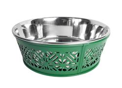 Magnolia Green Farmhouse Metal Punchout Stainless Steel Dog Bowl  - 30oz.