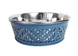 Mallard Blue Farmhouse Metal Punchout Stainless Steel Dog Bowl  - 30oz.
