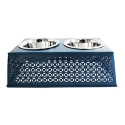 Mallard Blue Elevated Double Diner Country Metal Design w/ two 16oz Stainless Bowls