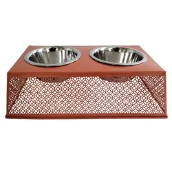 Apricot Brandy Elevated Double Diner Country Metal Design w/ two 16oz Stainless Bowls