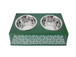 Magnolia Green Elevated Double Diner Country Metal Design w/ two 30oz Stainless Bowls