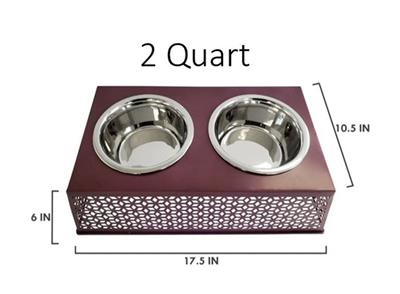 Plum Wine Elevated Double Diner Country Metal Design w/ two 30oz Stainless Bowls